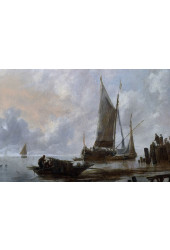 Poster Cappelle Jan Van de - Vessels Moored Off A Jetty - Obras de Arte