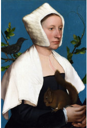 Poster Holbein Hans The Younger 1526-1528 Portrait Of A Lady With A Squirrel And A Starling - Obras de Arte