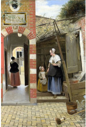Poster Hooch Pieter de - The Courtyard Of A House In delft - Obras de Arte