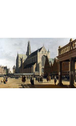 Poster Berckheyde Gerrit Adriaensz - The Market Place And The Grote Kerk At Haarlem