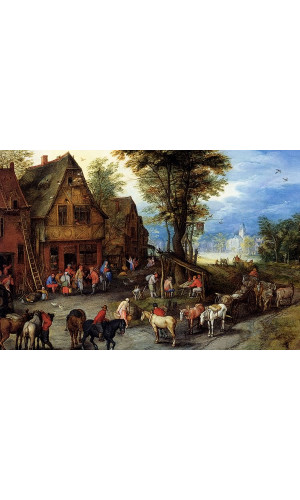 Poster Brueghel Jan The Elder - A Village Street With The Holy Family Arriving At An Inn
