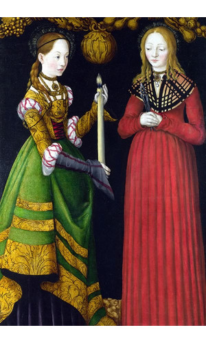Poster Cranach Lucas The Elder - Saints Genevieve And Apollonia