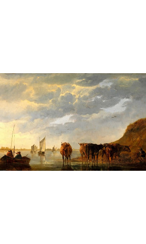 Poster Cuyp Aelbert - A Herdsman With Five Cows By A River