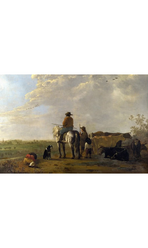 Poster Cuyp Aelbert - A Landscape With Horseman Herders And Cattle