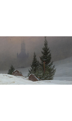 Poster Friedrich Caspar david - Winter Landscape With Church
