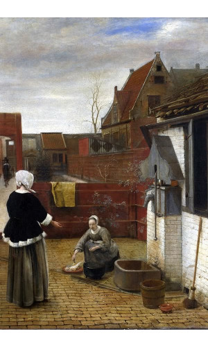 Poster Hooch Pieter de - Woman And Maid In A Courtyard