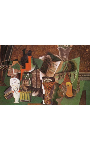 Poster Pablo Picasso Still Life With Cards Glasses And A Bottle Of Rum 'Vive La France' 1914 5